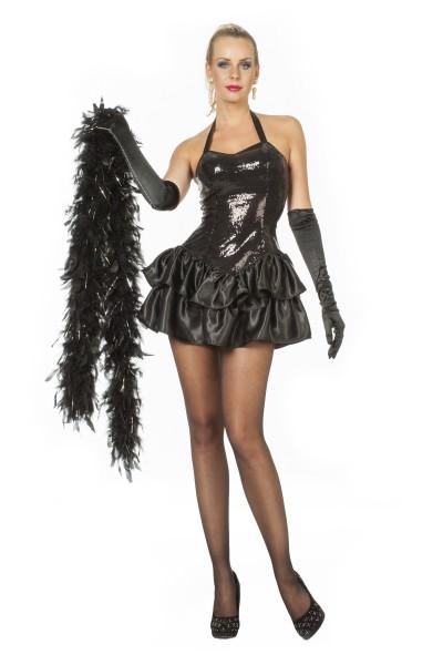 Paillettenkleid schwarz mit Satin-Rock