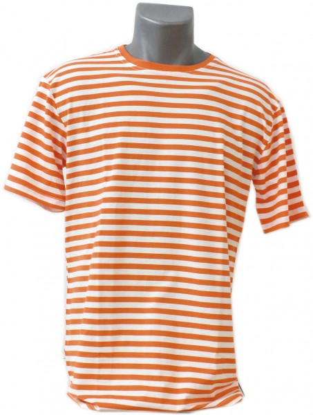 Ringelshirt Herren orange/weiß, Kurzarm