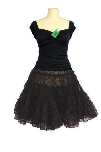 Petticoat zweilagig Spitze braun