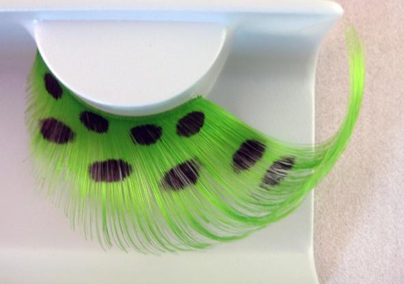 Federwimpern grün-gepunktet