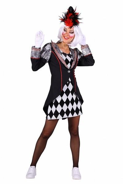 Damen Pierrot,Kleid und Frack schwarz-silber