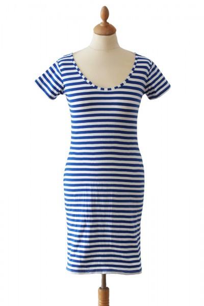 Ringelkleid A-Linie blau/weiß