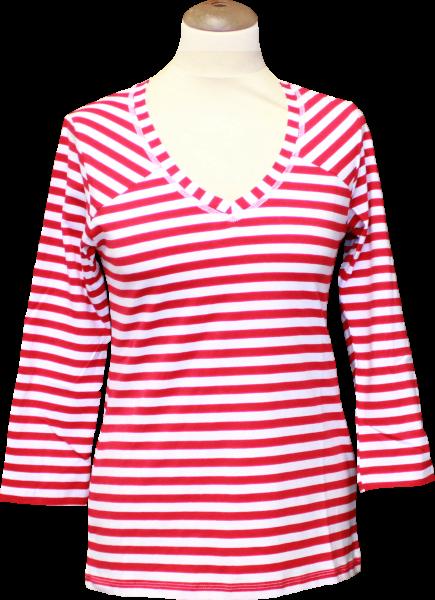 Ringelshirt rot/weiß mit V-Ausschnitt