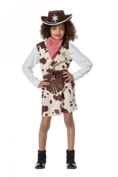 Kostüm Cowgirl mit Kuhdruck Kind