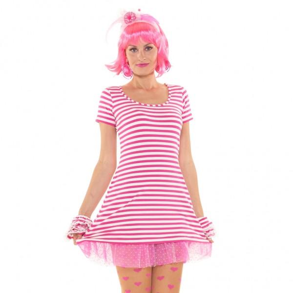 Ringelkleid rosa/weiß mit Petticoat