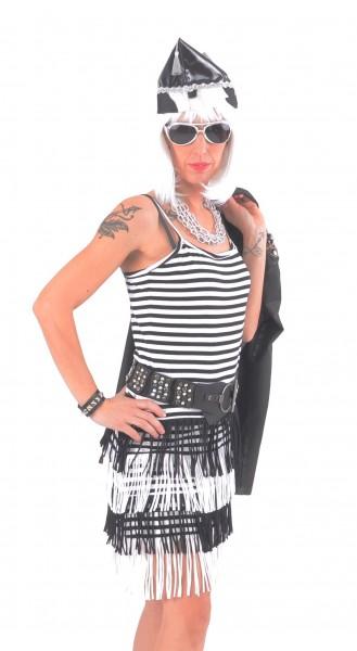 Ringel-Kleid Spaghettiträger schwarz/weiß mit Fransen