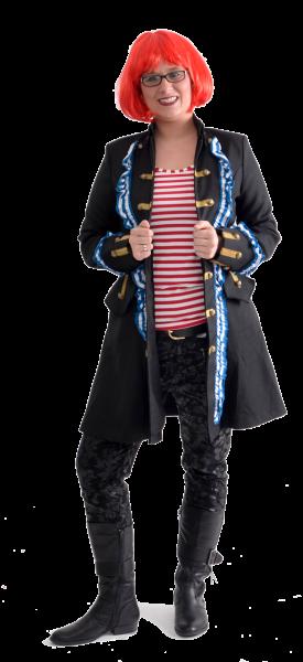 Damen Piratenmantel mit Rüschen blau / weiß