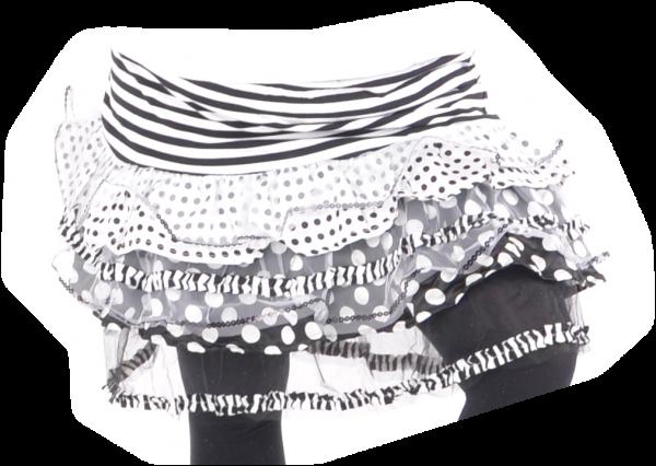 Ringelrock schwarz/weiß mit Punkten und Streifen