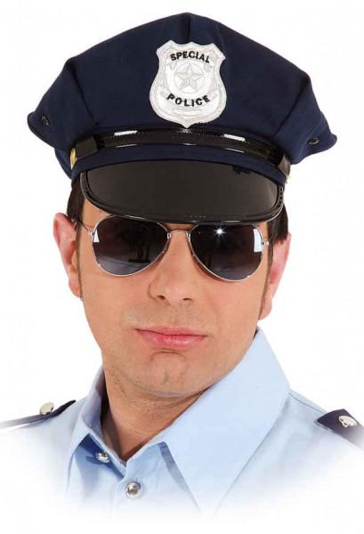 amerikanische Polizeimütze blau
