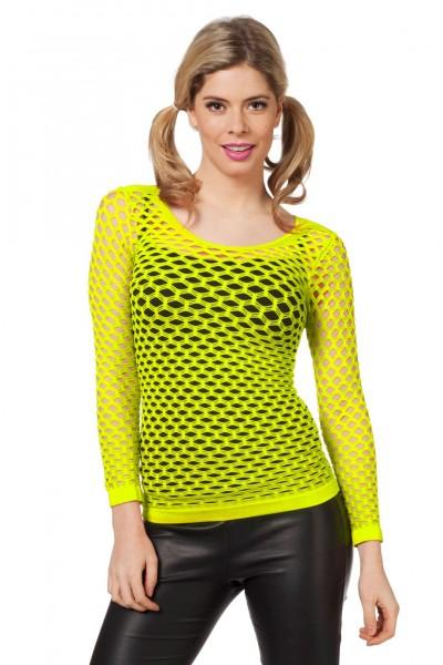 Netzshirt mit langen Armen gelb