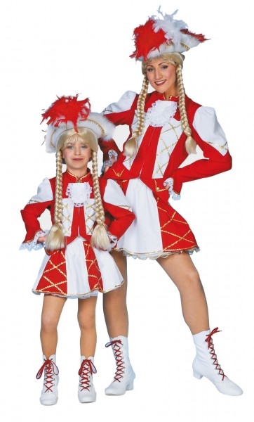 Kostüm Funkemariechen Damen rot-weiß