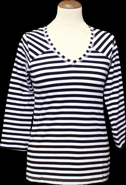 Ringelshirt schwarz/weiß mit V-Ausschnitt