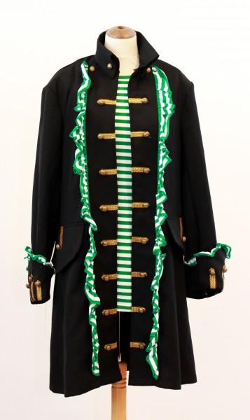 Herren Piratenmantel mit Rüschen grün / weiß