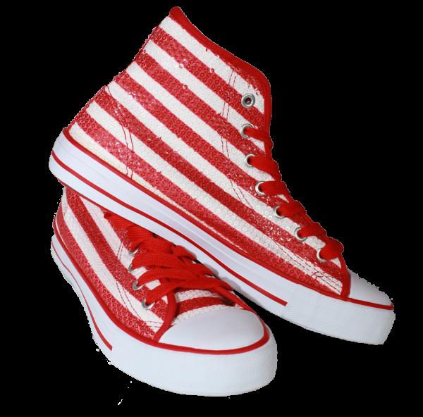 Paillettenschuh rot weiß