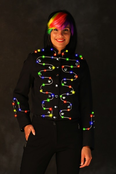LED schwarze Damenjacke mit Silberborte