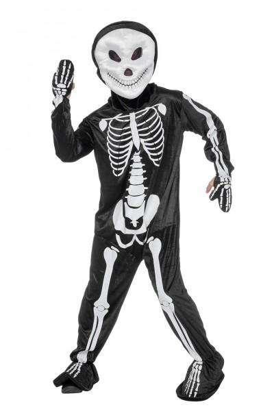 Kostüm Skelett Overall mit Kopf
