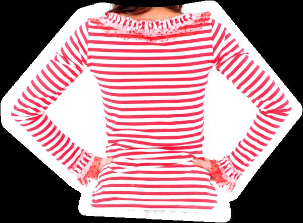 Ringelshirt rot/weiß mit zweifarbigem Tüll