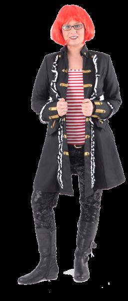 Damen Piratenmantel mit Rüschen schwarz / weiß