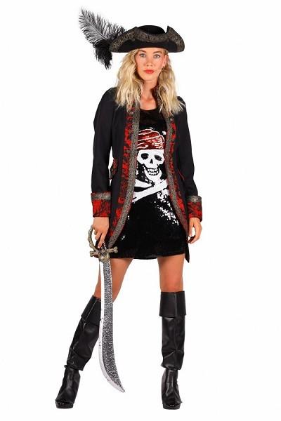 Damen Pirat, rot-schwarz