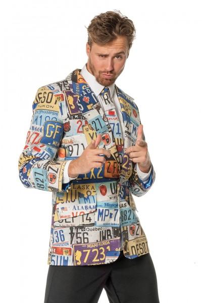 Kostümjacke mit Krawatte Nummernschilder