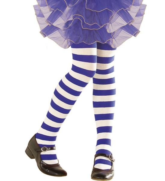 Kinderstrumpfhose blau/weiß