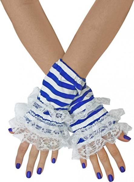 Handstulpen blau/weiß