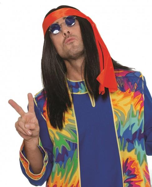 Perücke Hippie schwarz