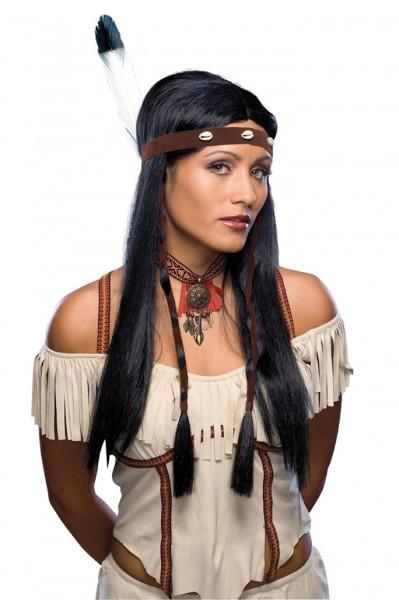 Perücke Indianerin mit Stirnband