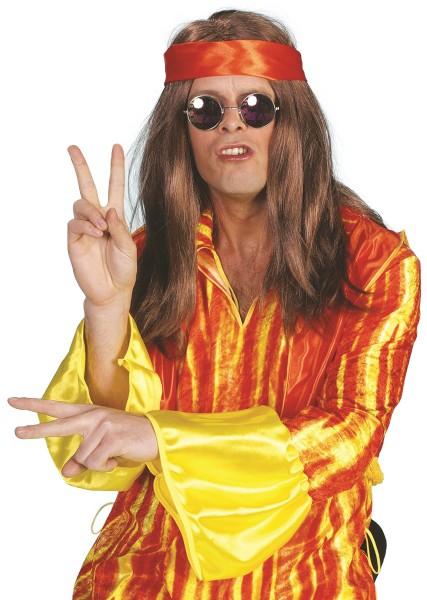 Perücke Hippie braun