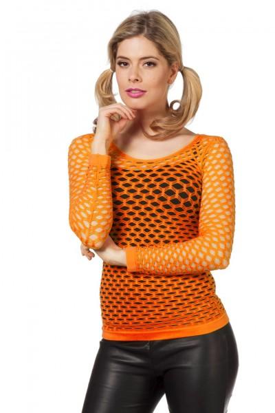 Netzshirt mit langen Armen orange