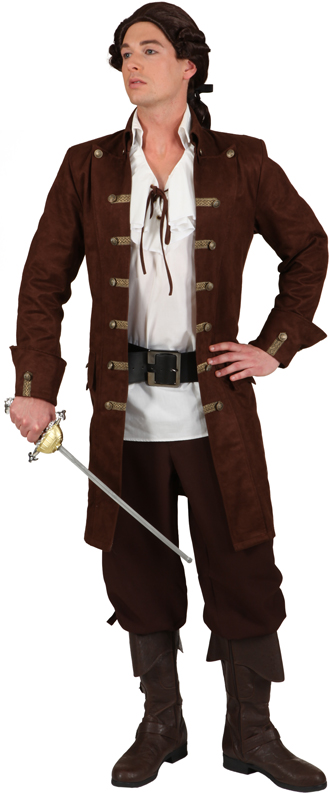 herren piraten mantel braun pirat kost me herren charlies karnevalsshop. Black Bedroom Furniture Sets. Home Design Ideas