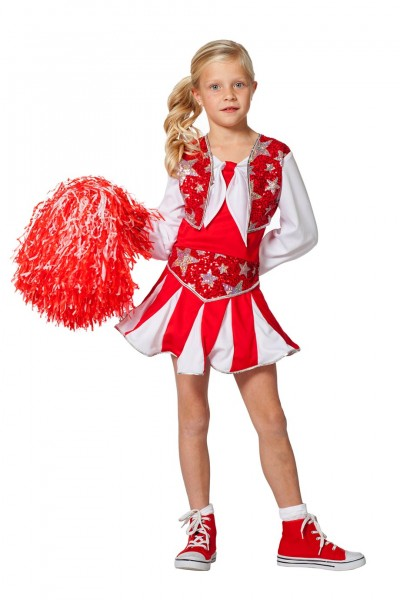 Kostüm Cheerleader Luxus rot Kind