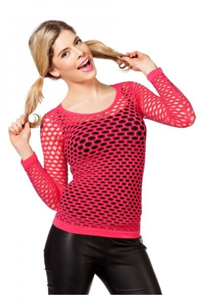 Netzshirt mit langen Armen pink