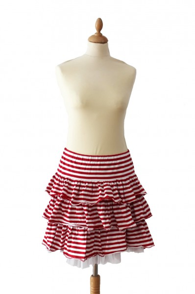 Ringelrock Petticoat rot/weiß