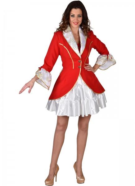 Damenfrack rot/weiß mit Glitzer