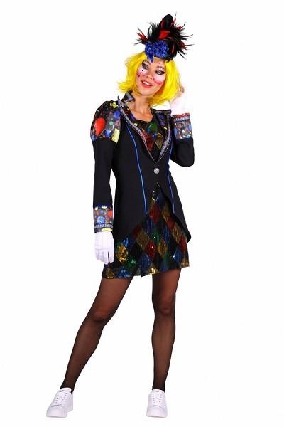 Damen Pierrot,Kleid und Frack bunt