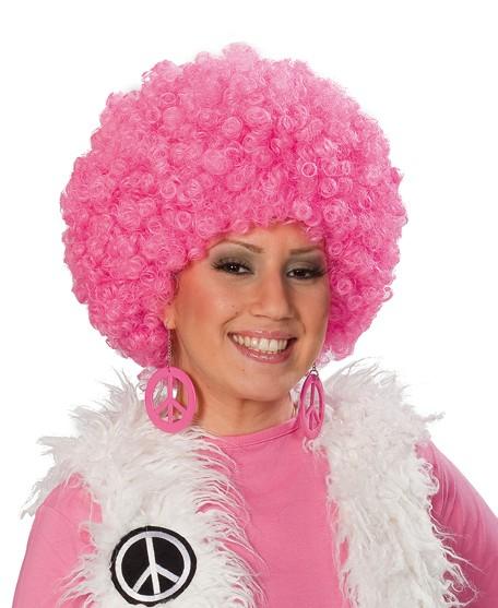 Perücke Afro Pink