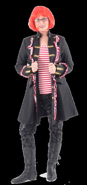 Damen Piratenmantel mit Rüschen rot / weiß