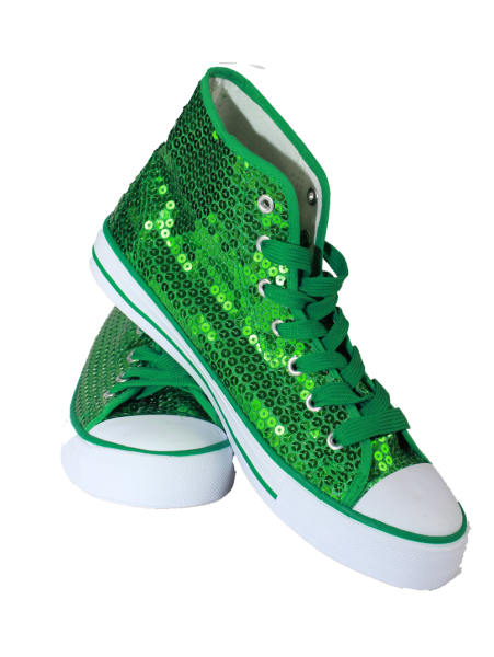 Paillettenschuh dunkelgrün