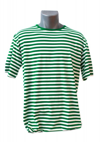 Ringelshirt Herren grün/weiß, Kurzarm