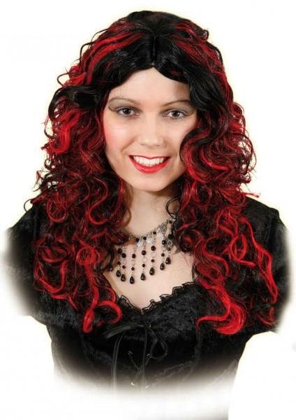 Perücke Emilie rot/schwarz
