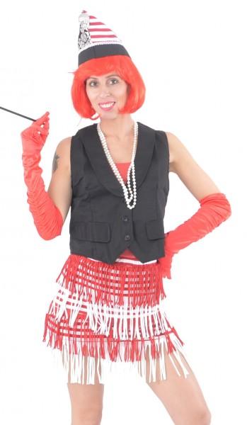 Ringel-Kleid Spaghettiträger rot/weiß mit Fransen