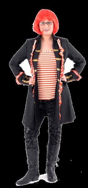 Damen Piratenmantel mit Rüschen orange / weiß