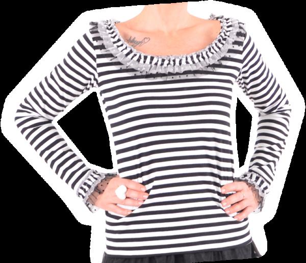 Ringelshirt schwarz/weiß mit zweifarbigem Tüll