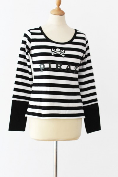 Piratenshirt Lady schwarz/weiß