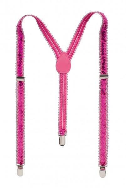 Pailletten Hosenträger pink
