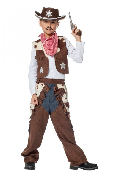 Kostüm Cowboy mit Kuhdruck Kind