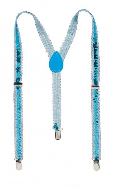 Pailletten Hosenträger blau